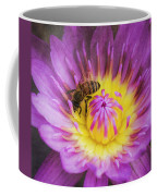 Purple And Yellow Lotus With A Bee Textured Coffee Mug