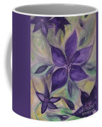 Purple Clematis Abstract Coffee Mug