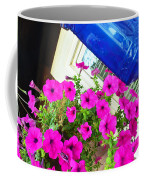 Purple Flowers On White Window 2 Coffee Mug