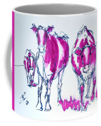 Purple Friesian Holstein Cows Drawing Coffee Mug