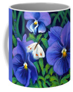 Purple Pansies And White Moth Coffee Mug