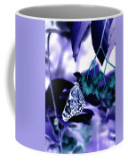 Purple Teal And A White Butterfly Coffee Mug