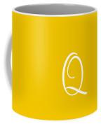 Q In White Simple Script Coffee Mug