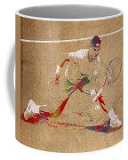Rafael Nadal Tennis Star Watercolor Portrait On Worn Canvas Coffee Mug