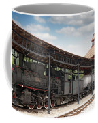 Railway Station With Old Steam Locomotive Coffee Mug