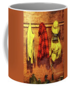 Rain Gear And Red Plaid Jacket Coffee Mug