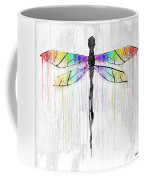 Abstract Dragonfly - White Rainbow Coffee Mug