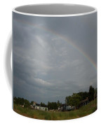 Rainbow Over Beach Cottages Coffee Mug