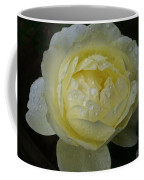 Raindrops On A Pale Yellow Rose Coffee Mug by Patricia Strand