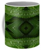 Raindrops On Green Leaves Collage Coffee Mug