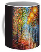 Rainy Autumn Evening In The Park Acrylic Palette Knife Painting Coffee Mug