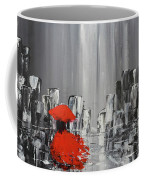 Rainy Day City Girl In Red Coffee Mug