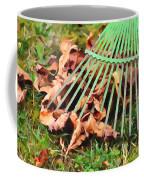 Raking The Fallen Autumn Leaves Coffee Mug