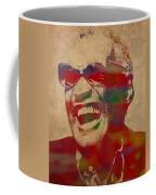 Ray Charles Watercolor Portrait On Worn Distressed Canvas Coffee Mug