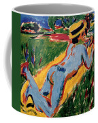 Reclining Blue Nude With Straw Hat Coffee Mug