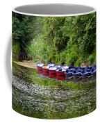 Red And Blue Boats On The River Coquet Coffee Mug