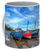 Red And Blue Fishing Boats Tenby Port Coffee Mug