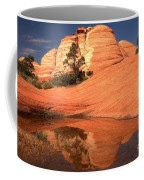 Red And White Reflections In Blue Coffee Mug