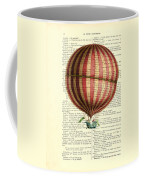 Red And White Striped Hot Air Balloon Antique Photo Coffee Mug