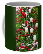 Red And White Tulips With Red And Pink English Daisies In Spring Coffee Mug