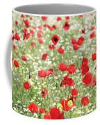 Red And White Wild Flowers Spring Scene Coffee Mug