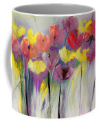 Red And Yellow Floral Field Painting Coffee Mug