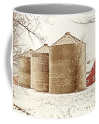 Red Barn In Snow Coffee Mug