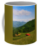 Red Barn On The Mountain Coffee Mug