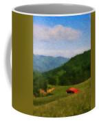 Red Barn On The Mountain Coffee Mug by Teresa Mucha