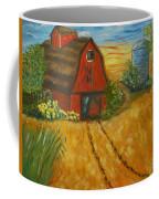 Red Barn- Wheat Field- Down Home Coffee Mug