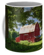 Red Barn With White Arched Door Trim Coffee Mug