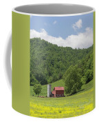 Red Barn Yellow Buttercups Coffee Mug