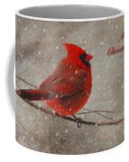 Red Bird In Snow Christmas Card Coffee Mug by Lois Bryan