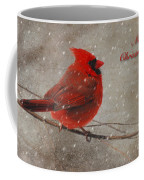 Red Bird In Snow Christmas Card Coffee Mug