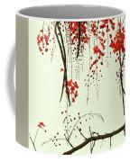 Red Blossom Tree On Handmade Paper Coffee Mug
