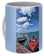 Red Boats At Blue Pier Coffee Mug