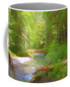 Red Bridge In Green Forest Coffee Mug
