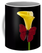 Red Butterfly And Calla Lily Coffee Mug