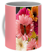 Red Butterfly On Bunch Of Flowers Coffee Mug