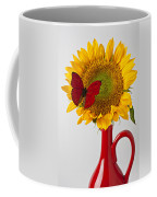 Red Butterfly On Sunflower On Red Pitcher Coffee Mug by Garry Gay