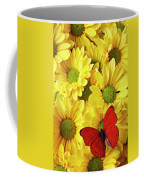 Red Butterfly On Yellow Mums Coffee Mug