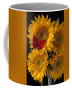 Red Butterfly With Four Sunflowers Coffee Mug