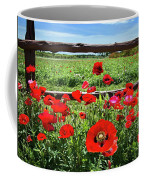 Red Corn Poppies At The Fence Coffee Mug