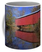 Red Covered Bridge And Reflection Coffee Mug