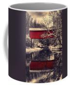 Red Covered Bridge In Winter Coffee Mug