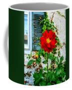 Red Dahlia By Window Coffee Mug