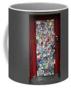 Red Doorway With Stickers Coffee Mug