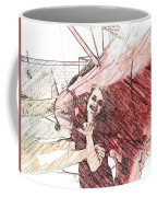 A Red Dress And A  Biplane Coffee Mug