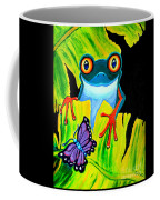 Red Eyed Tree Frog And Purple Butterfly Coffee Mug