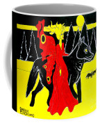 Red Faerie And Black Wolf With Yellow Moon Coffee Mug